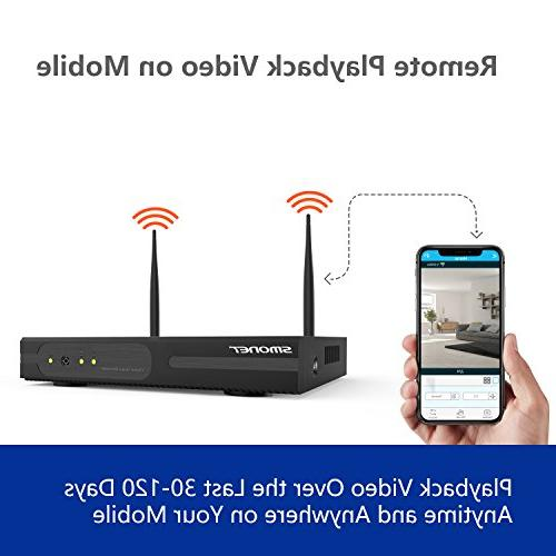 Wireless Security 4CH HD Video System,4pcs IP Cameras,Support Detection & View iOS Android Hard Drive