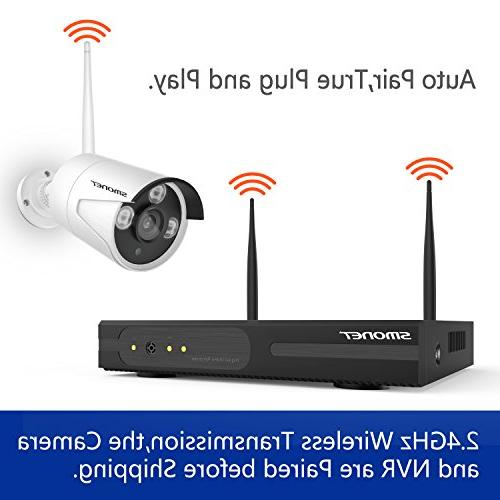 Wireless Security Camera 4CH HD Video Security System,4pcs HD IP Cameras,Support & iOS App,No Hard Drive
