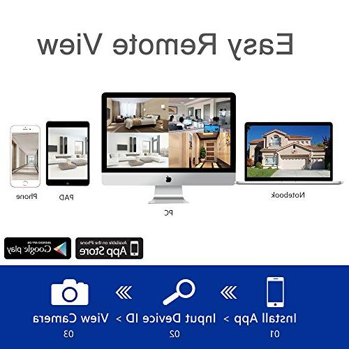 Wireless Camera 4CH HD System,4pcs IP Cameras,Support Motion & iOS Android Hard