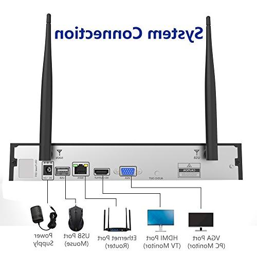 Wireless Security System,4pcs HD Cameras,Support Motion Alarm & Remote View iOS or App,No Hard
