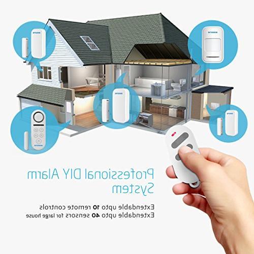 BIBENE Alarm System Home Security DIY 4 2-In-1 Remote, Expandable Door Window Motion Sensors, Password Required Alert