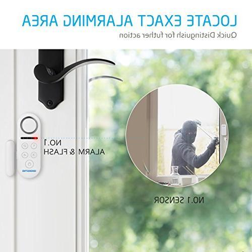 BIBENE Door System Home 4 2-In-1 Host, Button Remote, Expandable 40 Window Required Burglar Alert System
