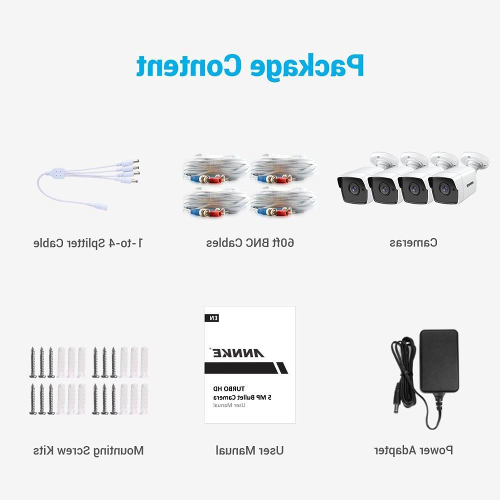 <font><b>ANNKE</b></font> 4X Ultra HD 5MP TVI Outdoor Weatherproof White Surveillance EXIR Vision Alert Kit
