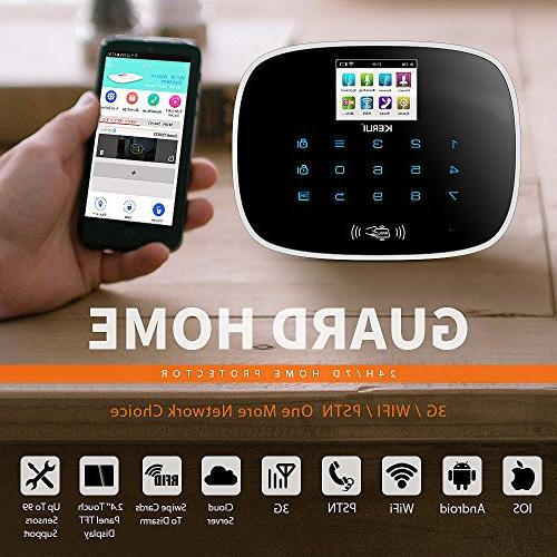 KERUI WiFi gsm Smart Home Burglar Alarm DIY Basic Kit Dial Alert,Expandable Up to Intrusion Sensors/Remote Keyfobs,24/7/365 No Monthly