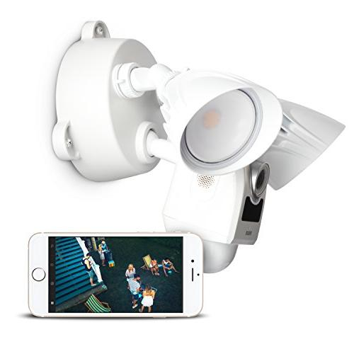 RCA Flood Light Motion Sensor WiFi with Siren Alarm and Two Way Audio for