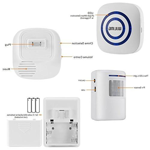 WJLING Sensor Alarm, Wireless Security Receiver Tunes -