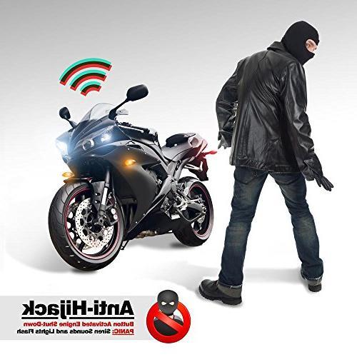 Pyle Bike Vehicle Alarm Anti Theft with Easy Remote Auto Anti-Hijack Engine Shut High Power Speaker PLMCWD25