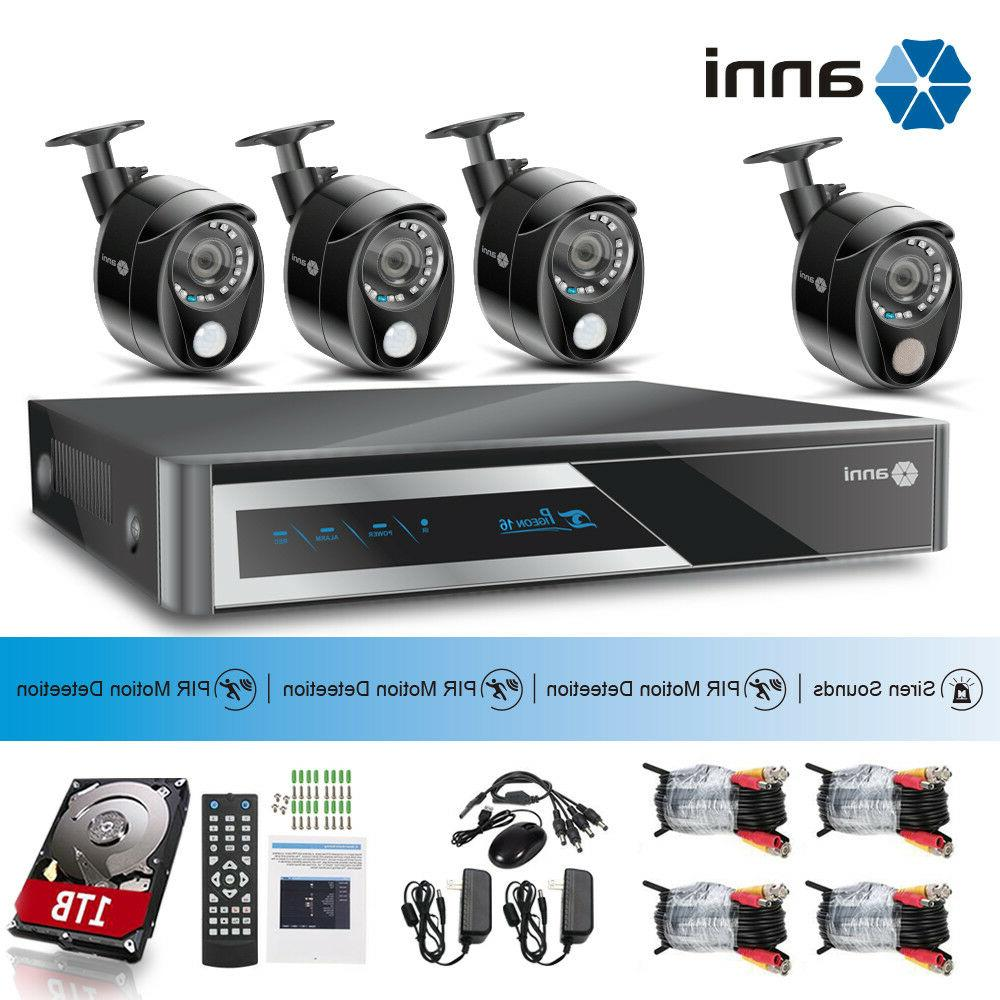 anni 8CH 1080P DVR 3x PIR+1x Siren Alarm Camera Security Sys