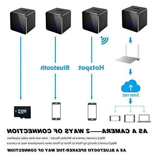 Spy Hidden Cam Speaker-Music Bluetooth Clock-Mini WiFi 1080P Security Alarm Clock