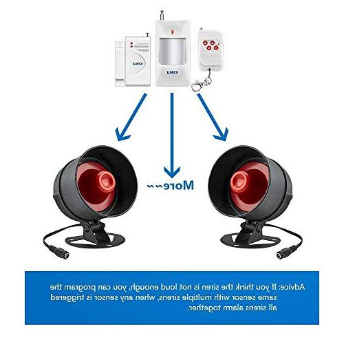 KERUI Standalone Home & Alarm System Wireless Loud Indoor/Outdoor Weatherproof Siren Horn with Remote Control Door Contact Sensor,Motion to