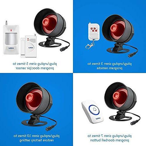 KERUI Standalone & System Kit, Wireless Loud Indoor/Outdoor Door Contact Sensor,Motion to