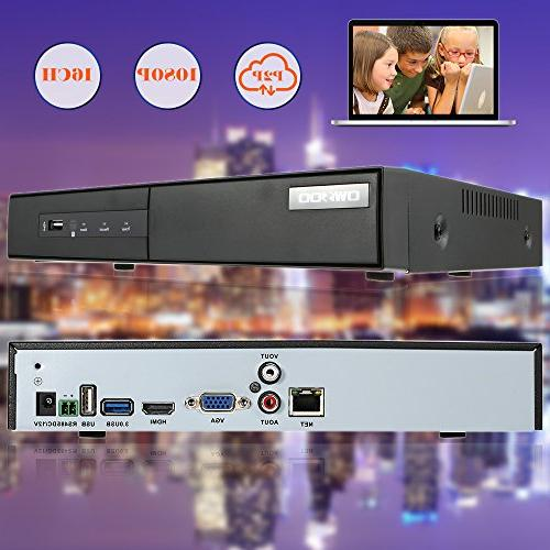 OWSOO Recorder for Cameras 16 H.264 CCTV Security Control Detection Email Surveillance IP