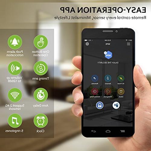 BIBENE 2.4Ghz Security Door DIY Works Alexa Alarm System Set with APP, 2-in-1 Main Panel,0-120dB, Fee,