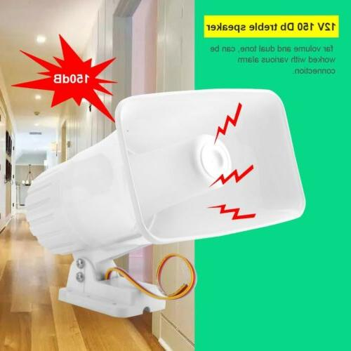 wired 150db sound siren horn 12v white