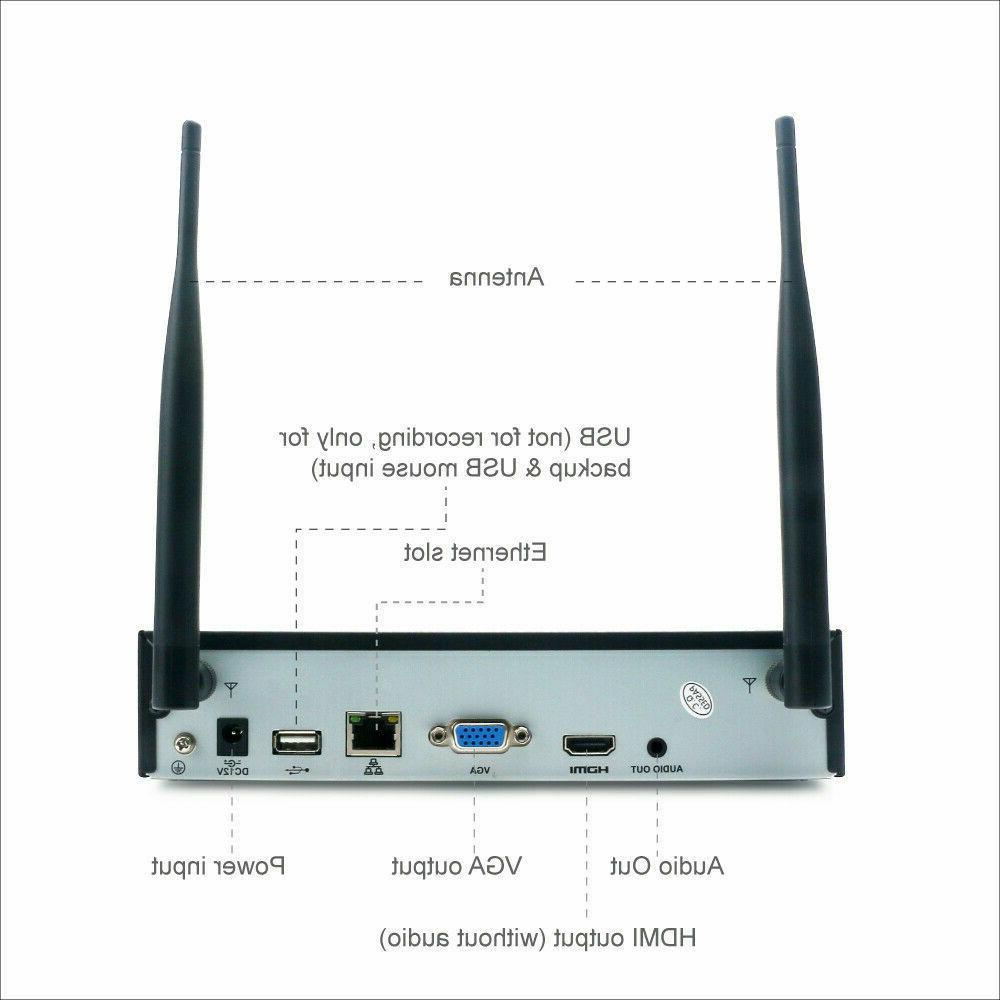 Wireless 4CH 1080P 2MP Smart Alarm Home IP Camera System WiFi