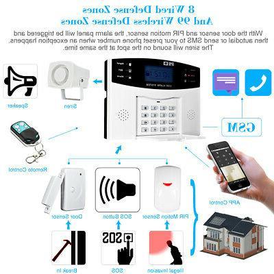 433MHz GSM SMS PIR Alarm Security T8C7
