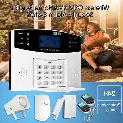 433MHz RF Wireless LCD GSM SMS PIR Burglar Alarm System Kit