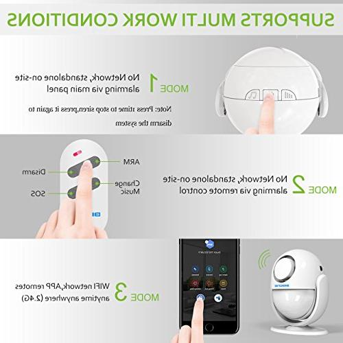 BIBENE 2.4Ghz Security Door DIY Alexa Upgraded WP6 Alarm System with APP, 2-in-1 PIR Main Panel,0-120dB, 3Modes Fee,