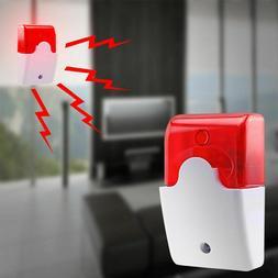 New 12V Mini Wired Sound Alarm Strobe Flashing Light Siren H