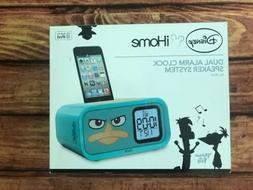 NEW Disney iHome Phineas & Ferb Dual Alarm Clock Speaker Sys