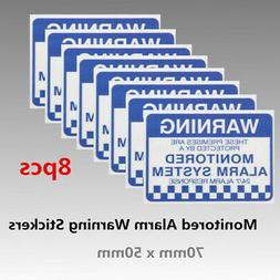 Pack of 8 Monitored Alarm System Warning Security Stickers W