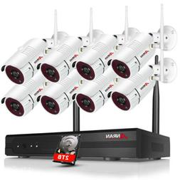 Security Camera System Outdoor WiFi 1080P 8CH NVR Wireless C