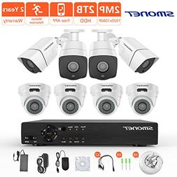 Security Camera System Wired,SMONET 8CH 1080P Surveillance