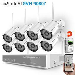 Security Camera System Wireless,Safevant 8CH 1080P Home Secu