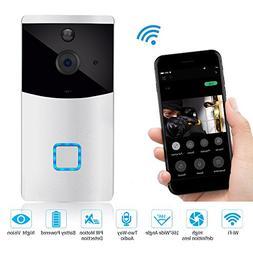Upgraded Wifi Wireless Video Doorbell,18650 Battery, Night V