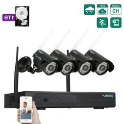 Wireless 8CH NVR Outdoor WIFI IR-CUT Camera Home Security Sy